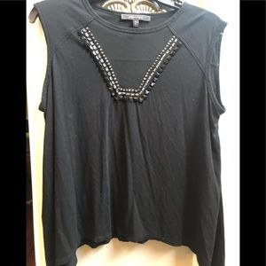 Bcbg black knit top with mesh and embellishments